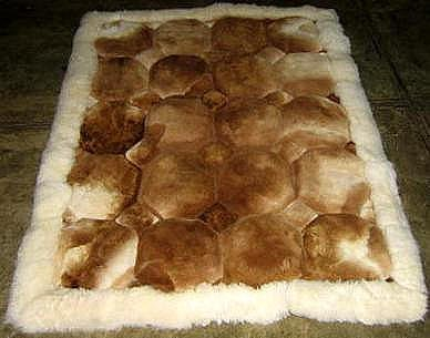 Brown and white Alpaca fur rug, 80 x 60 cm