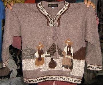 Folklorical motive Sweater for Kids neck, Alpaca Wool