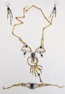 Bamboo necklace set with ear ring and bracelet,jewelry