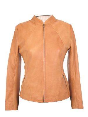 Women�s beige casual Lambskin leather Jacket, outerwear