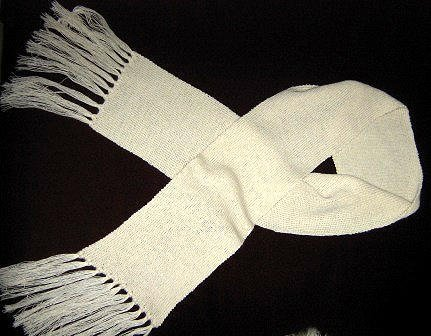 white scarf,shawl made with Alpacawool, 62x8 Inches