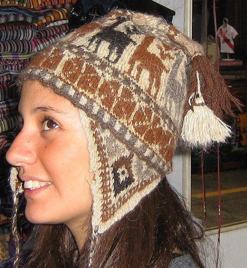 Chullo from Peru, brown wool hat pure alpaca wool, cap