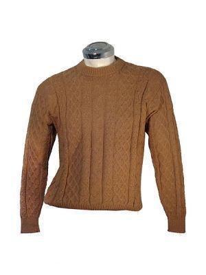 Brown round neck Sweater for men, pure Alpaca wool