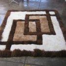 Peruvian Alpaca fur rug with geometric design, 80 x 60 cm