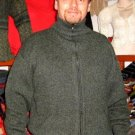 Cardigan for men with ziper, double knitted, jacket alpaca wool