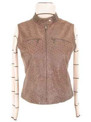 Womens light brown leather vest, outerwear
