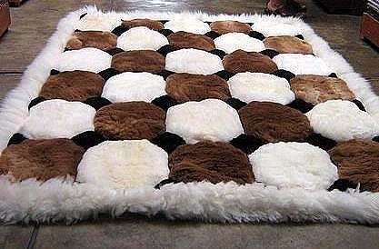 White and brown Alpaca fur rug, Octagon designs 80 x 60 cm