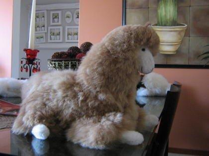 Plush toy Lama figure, handmade with alpaca fur