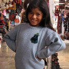 Light blue sweater for Girls with alpaca wool knitted