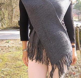 Grey woolen scarf, shawl made of Alpaca wool