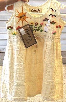 White baby dress from �usta, ekological pima cotton