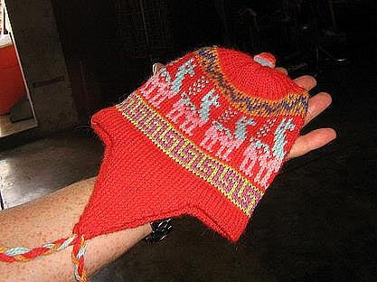 Red peruvian Kids Chullo, wool hat with ear flaps,cap