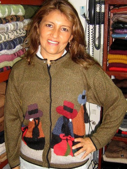 Embroidered folklorical peruvian Cardigan,Alpaca wool