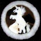 Round table runner,Alpaca fur,40 cm (15.6)diameter