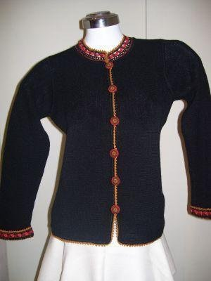 Embroidered cardigan,Jacket knitted of Alpaca wool