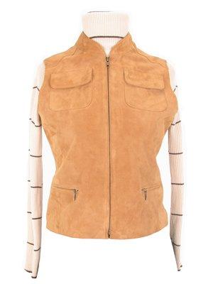 Women`s beige sleeveless vest, lamb nappa leather