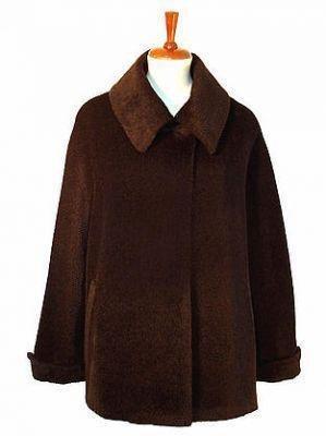 Brown coat , pure Surialpaca wool, outerwear, Parka