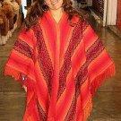 Red peruvian Poncho, outerwear Alpaca Wool