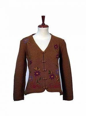 Brown embroidered Blazer made of pure Alpacawool