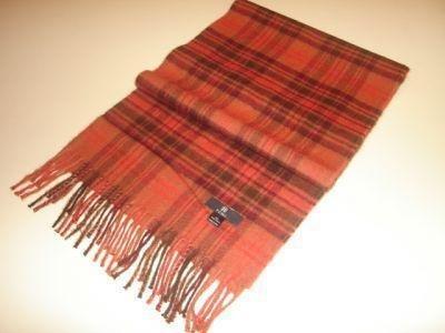 Orange chekked scarf made of Babyalpaca wool