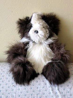 Teddy bear, figure made of Suri Alpaca fur, soft toy