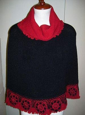 Turtleneck Poncho made of alpaca wool, outerwear