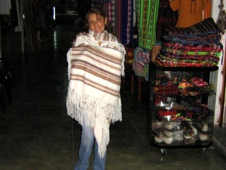 Poncho with a shawl  made of soft Alpaca fabric