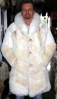 White fur long coat for men, Babyalpaca pelt, outerwear