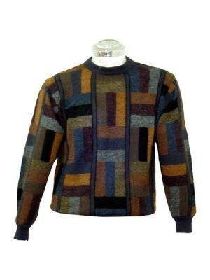Sweater for men, made of alpaca wool, round neck