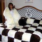 Set of fur bedspread,pilows and snake, alpaca pelt