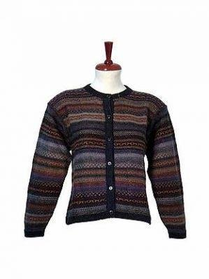 Colorful Cardigan knitted of pure Alpacawool