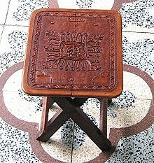 Side table, massive Mahogany wood, carved leather