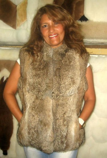 Rabbit chinchilla pelt vest, fur jacket, outerwear