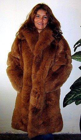 Brown Long coat made of Babyalpaca pelt,
