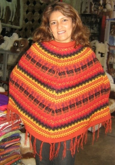 Red Poncho, outerwear made of alpacawool