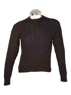 Black sweater, cable pattern, made of Alpaca wool