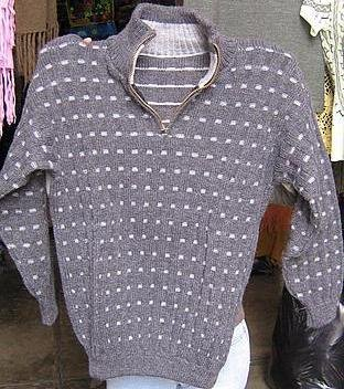 Sweater with ziper, turtleneck made of alpacawool