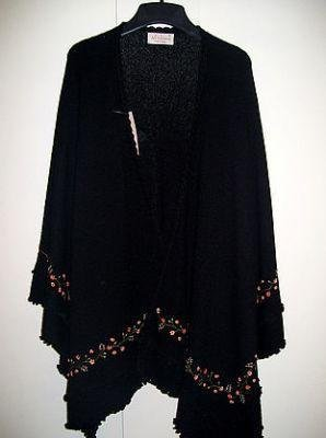 Embroidered Cape,wrap knitted of 100% Alpaca wool