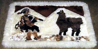 Fur Rug from Peru,campesino,carpet of 35 x 23 Inches