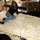 Original from Peru, white baby alpaca fur rug, 80 x 60 cm