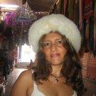 White fur cap, hat is made of Babyalpaca fur