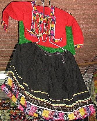 Ethnic peruvian dance costume from Cusco in Peru