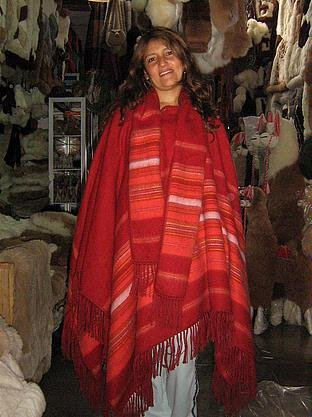 Red poncho,coat made of Alpaca wool fabric,outerwear