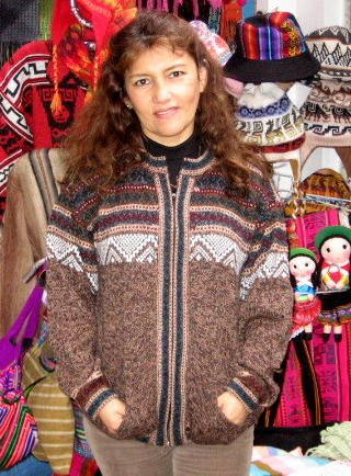 Indigen peruvian ethno designed cardigan  knitted of pure cosy Alpacawool.
