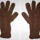 Brown alpaca wool gloves, cable pattern mittens