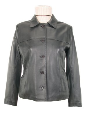 Women's classic Leather Jacket with button