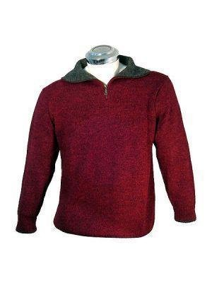 Sweater, knitted with alpaca wool, v-neck and ziper