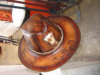 Typical Goucho leather hat, calf leather, stetson