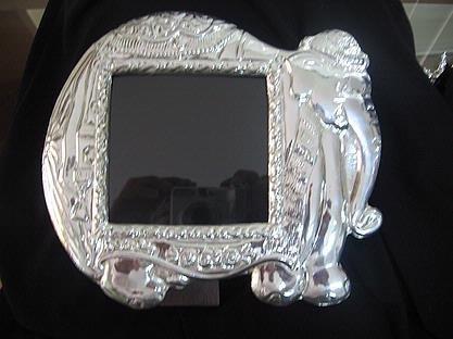 Picture Frame,massive Mahogany ,silver 950 decor