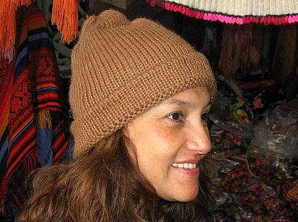 Brown Beanie hat made of alpaca wool, cap